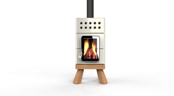 Min Stack, Stack Stoves La Castellamonte, in shiny white on wooden legs. Quality designer wood burning stove