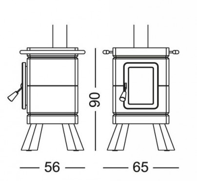 A picture drawing of the stack stove measurements