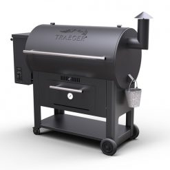 A black drum style BBQ pellet powered smoker