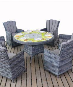 Platinum Grey Round Dining 6 Rattan Outdoor Living Garden