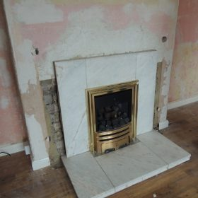 Old Gas fire before removal before Stove Installation Haxby York