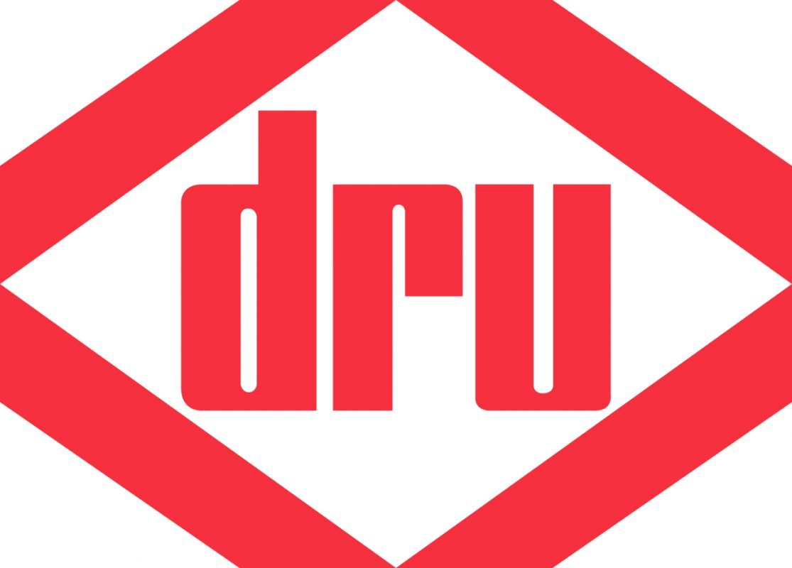 A red logo for Dru Stoves in a diamond Shape