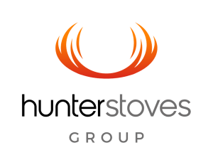A logo for Hunter Stoves orange flame above black and grey text