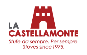 A logo for La Castellamonte red castle with wording underneath