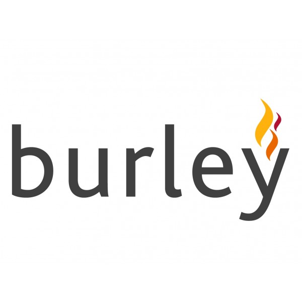 Burley stoves logo grey lowercase text with flame above the Y