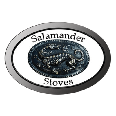 An Oval shaped logo for salamander stoves with a lizard in the middle