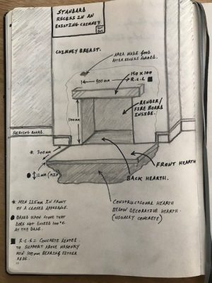 fireplace recess and hearth sketch view