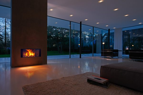 luxury wood burnerg stove in a contemporary living space