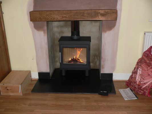 a completed installation into an existing chimney